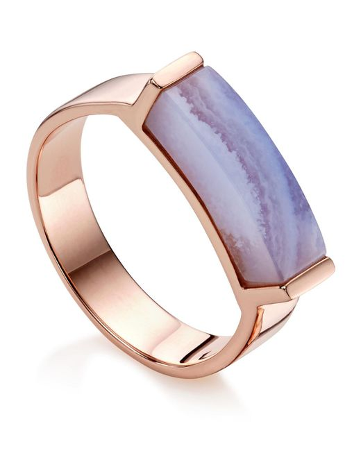 Monica Vinader   Metallic Linear Lace Agate Stone Ring   Lyst