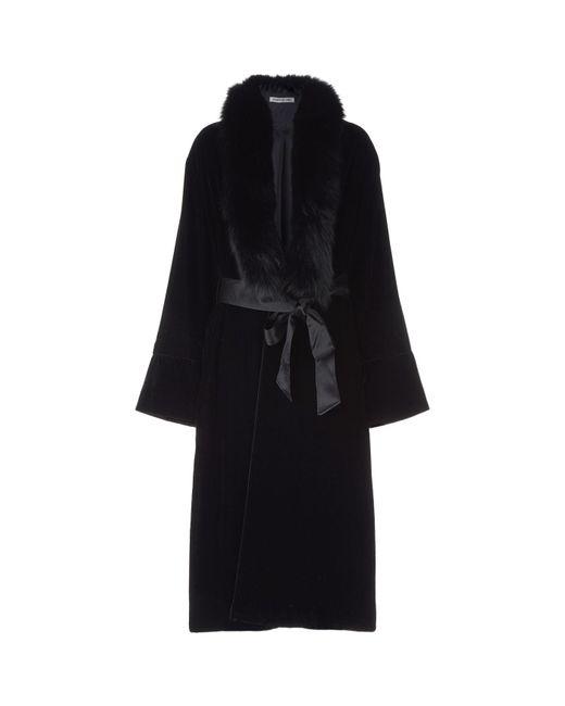 Elizabeth and James - Black Mitzi Fur Trim Velvet Coat - Lyst