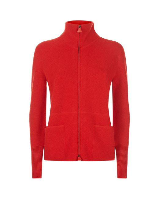 Akris - Red Cashmere Zip-up Sweater - Lyst