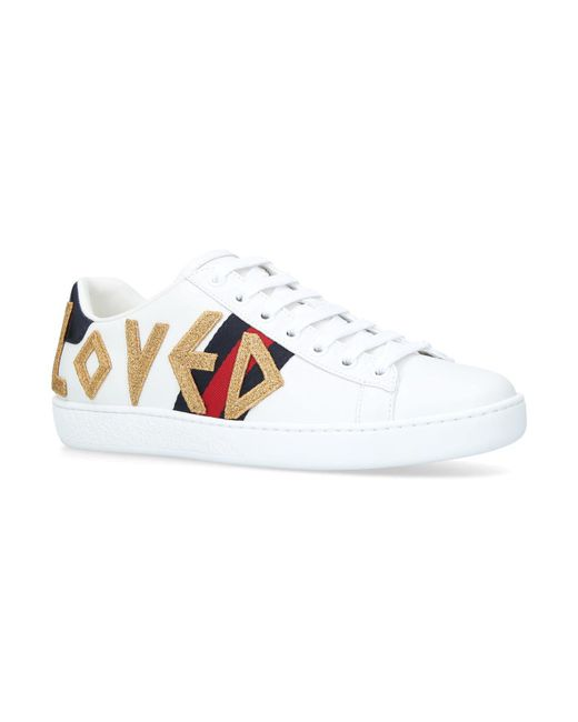 Gucci - White New Ace Loved Sneakers - Lyst