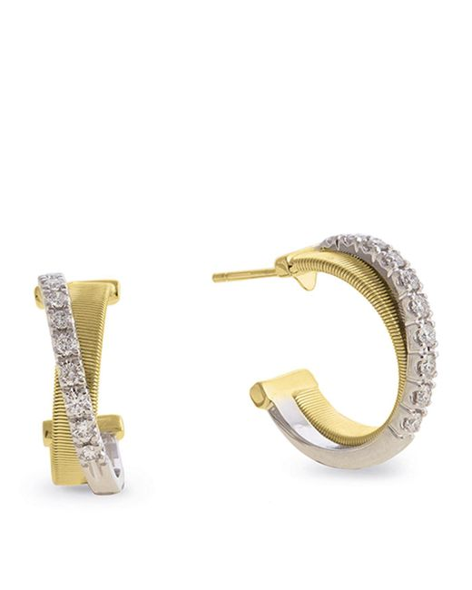 Marco Bicego - Yellow And White Gold Diamond Crossover Masai Earrings - Lyst