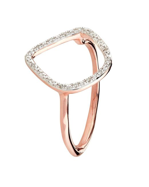 Monica Vinader - Pink Riva Rose Gold Plated Diamond Ring - Lyst