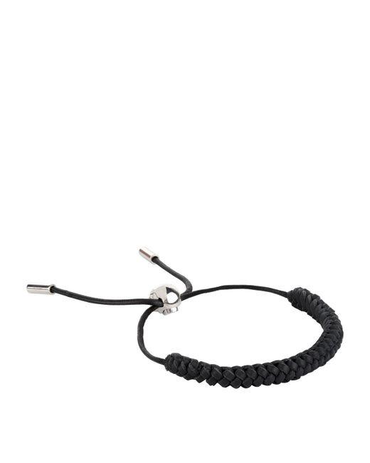 Alexander McQueen - Black Skull Braided Leather Bracelet - Lyst