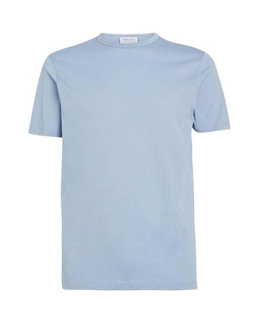Sunspel Blue Cotton T-shirt for men