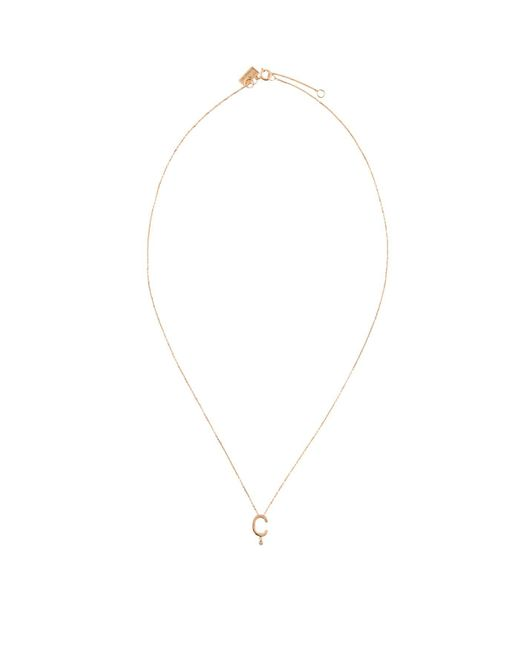 Vanrycke Metallic Rose Gold And Diamond Abcdaire Letter C Necklace