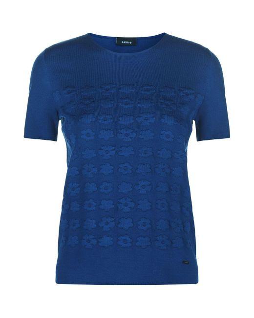 Akris - Blue Silk Floral Sweater - Lyst