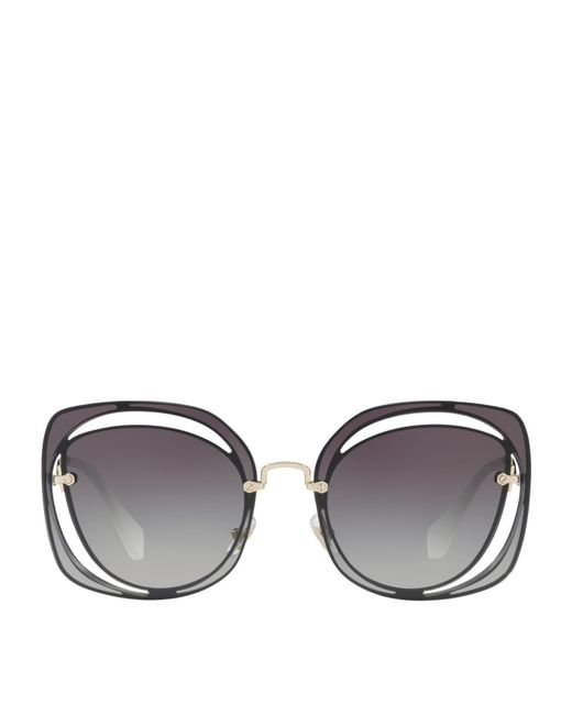 Miu Miu - Gray Cut-out Irregular Sunglasses - Lyst