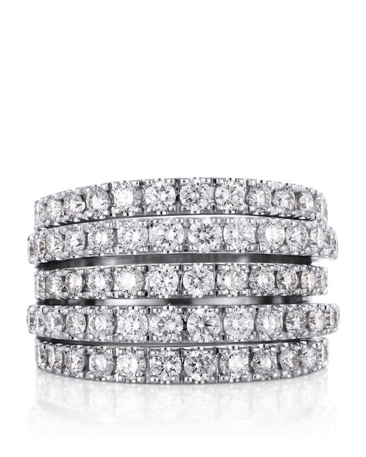 De Beers | Metallic White Gold And Diamond Five Line Ring | Lyst