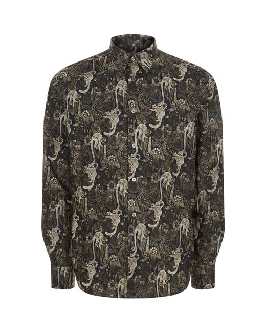 Paul Smith | Gray Monkey Print Casual Shirt for Men | Lyst
