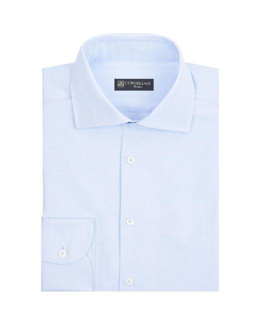 Corneliani - Blue Textured Chevron Shirt for Men - Lyst