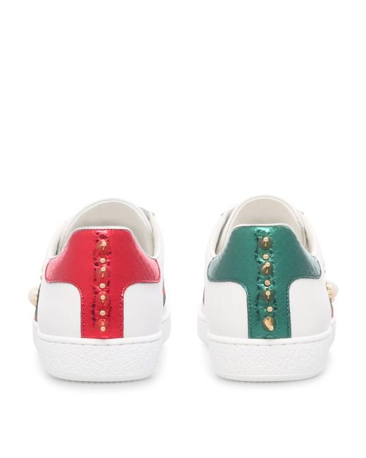 Gucci White Ace Pearl And Stud-Detail Leather Trainers
