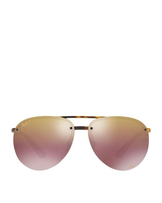 Ray-Ban - Brown Polarised Mirror Aviator Sunglasses - Lyst