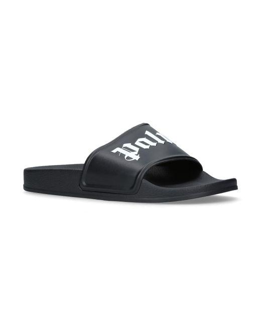 Palm Angels - Black Logo Pool Slides for Men - Lyst