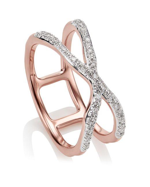 Monica Vinader - Metallic Riva Wave Cross 18ct Gold Vermeil And Diamond Ring - Lyst
