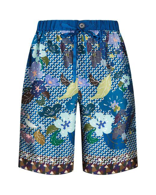 Meng - Blue Geometric Diamond Print Silk Shorts for Men - Lyst
