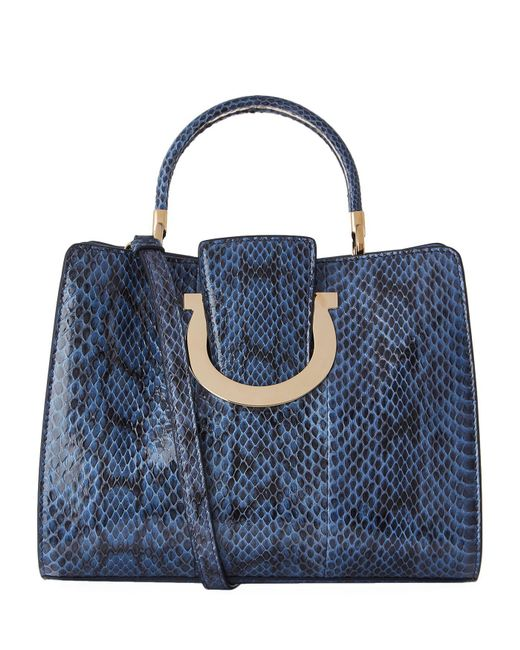 Ferragamo | Green Medium Thea Python Top Handle Bag | Lyst