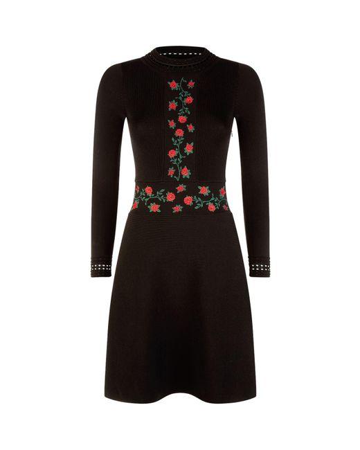 Sandro   Black Embroidered Dress   Lyst