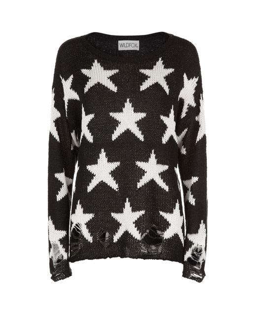 Wildfox | Black Lennon Seeing Stars Sweater | Lyst