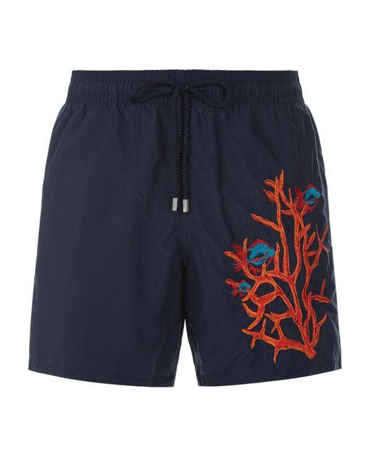 Vilebrequin fish motu swim shorts in blue for men lyst for Fishing swim trunks
