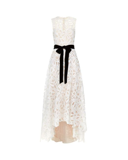 Monique Lhuillier | White Sleeveless Guipure Lace Gown | Lyst
