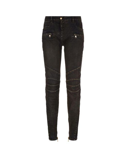 Balmain | Gray Skinny Biker Jeans | Lyst