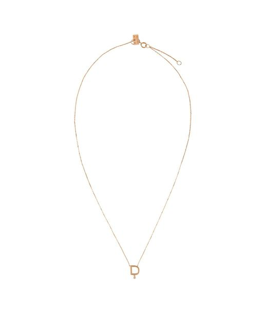 Vanrycke Metallic Rose Gold And Diamond Abcdaire Letter D Necklace