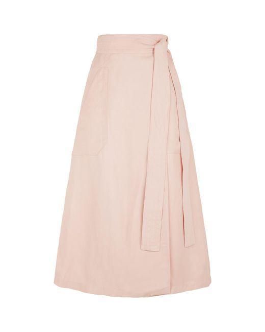 Sandro - Pink Belted Midi Skirt - Lyst