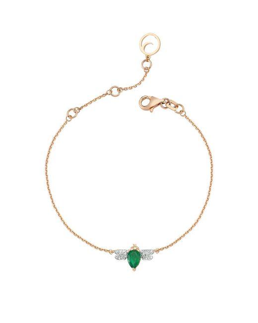 Bee Goddess - Green Rose Gold Diamond And Emerald Honey Bee Bracelet - Lyst