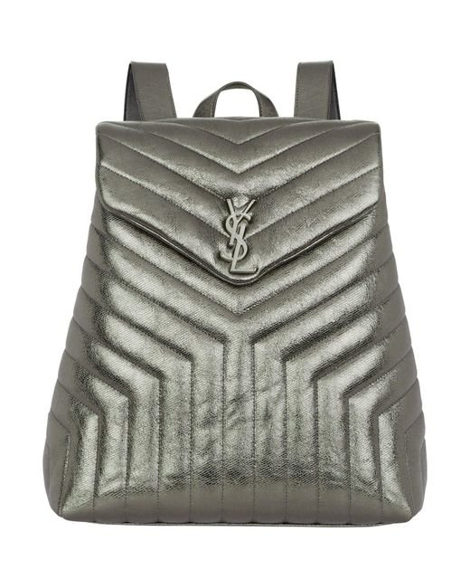 Saint Laurent | Gray Monogram Quilted Leather Backpack | Lyst