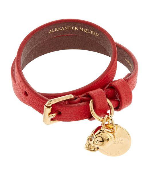 Alexander McQueen - Red Double Wrap Leather Skull Bracelet - Lyst