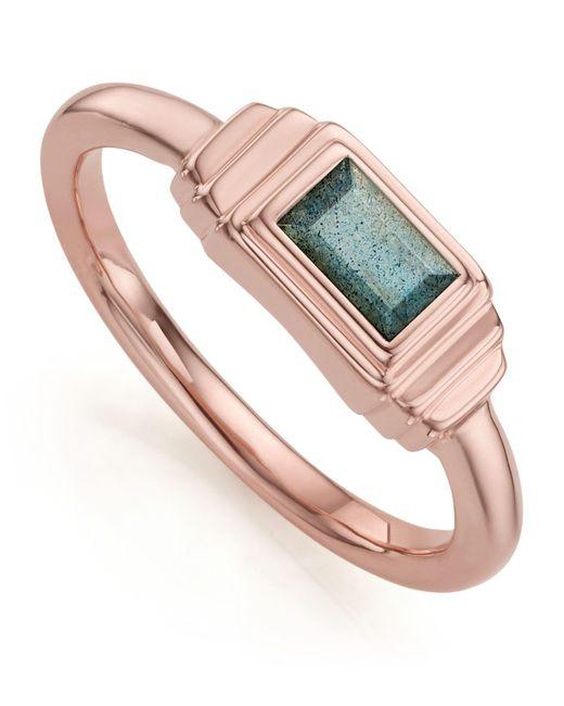 Monica Vinader - Metallic Baja Deco Labradorite Ring - Lyst