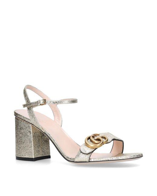Gucci GG Metallic Leather Mid-heel