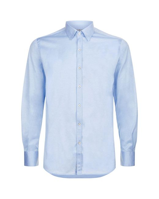 Canali   Blue Cotton Stretch Shirt for Men   Lyst