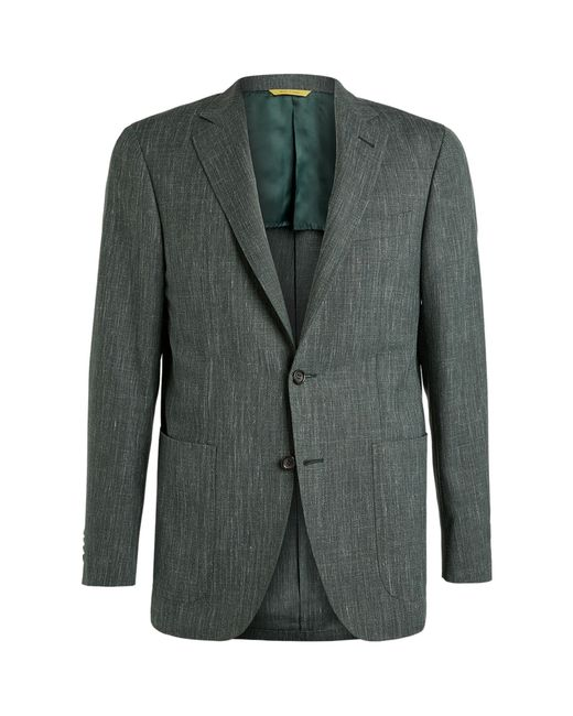 Canali Green Wool-silk Blend Blazer for men
