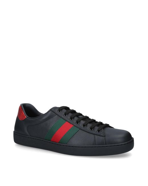 Gucci Black Leather Bee-embroidered Ace Sneakers for men