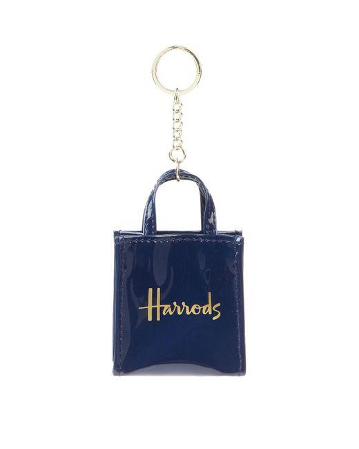 Harrods Blue Patent Bag Keyring