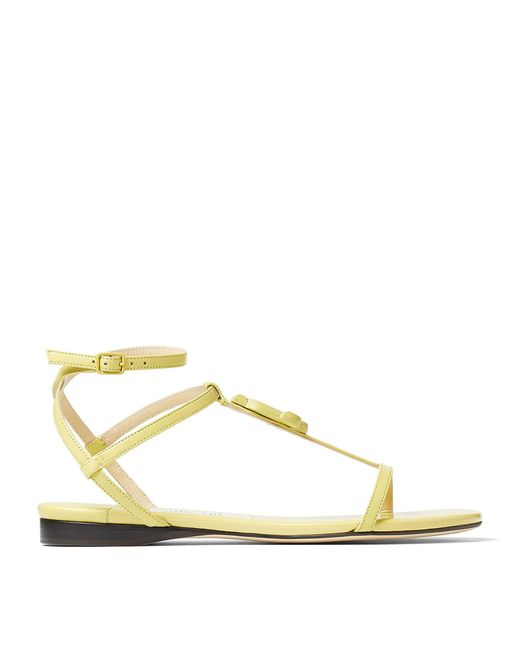 Jimmy Choo Yellow Alodie Leather Sandals