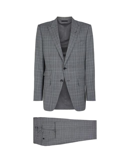 Tom Ford Gray Plaid Check Suit for men