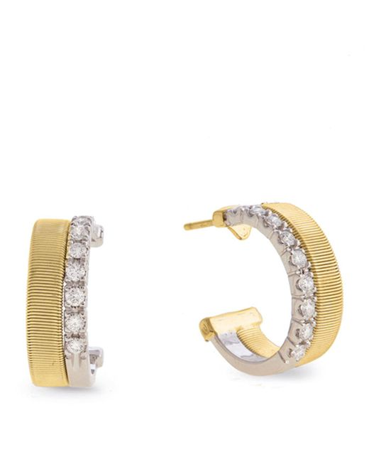 Marco Bicego - Yellow And White Gold Diamond Two Row Masai Earrings - Lyst