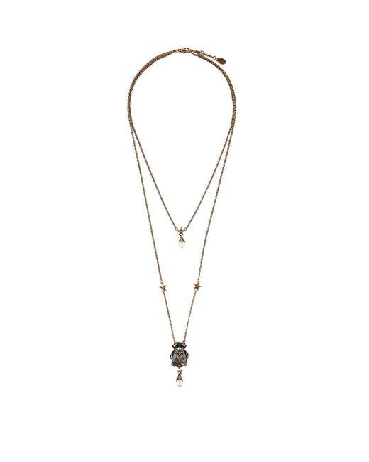 Alexander McQueen Metallic Beetle Double Chain Necklace