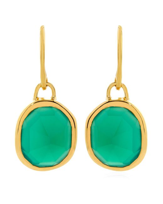 Monica Vinader - Green Onyx Siren Wire Earrings - Lyst