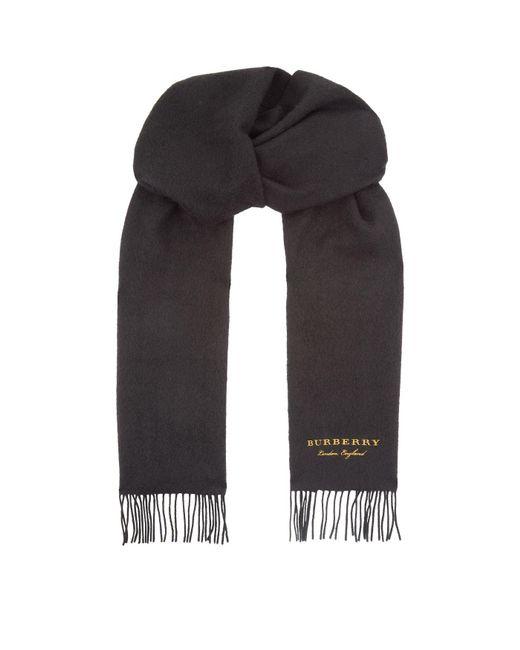 Burberry - Black Cashmere Logo Scarf for Men - Lyst