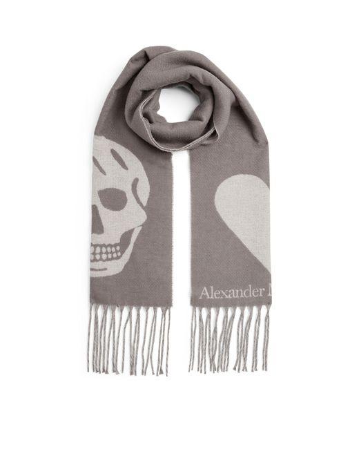 Alexander McQueen Black Skull And Heart Scarf