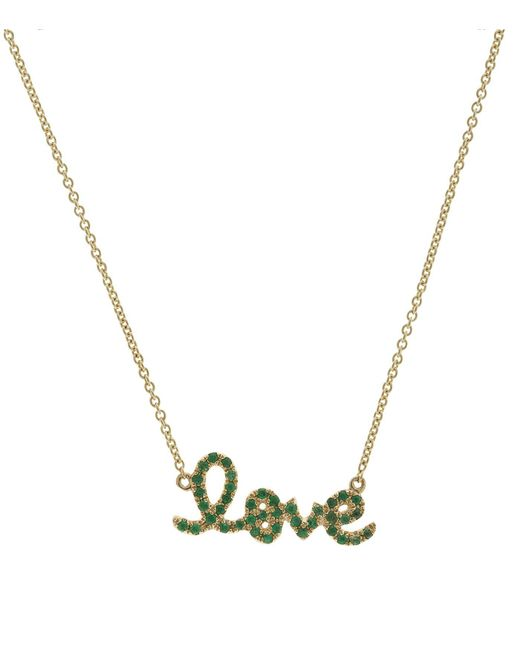 Sydney Evan | Green Love Script Necklace | Lyst