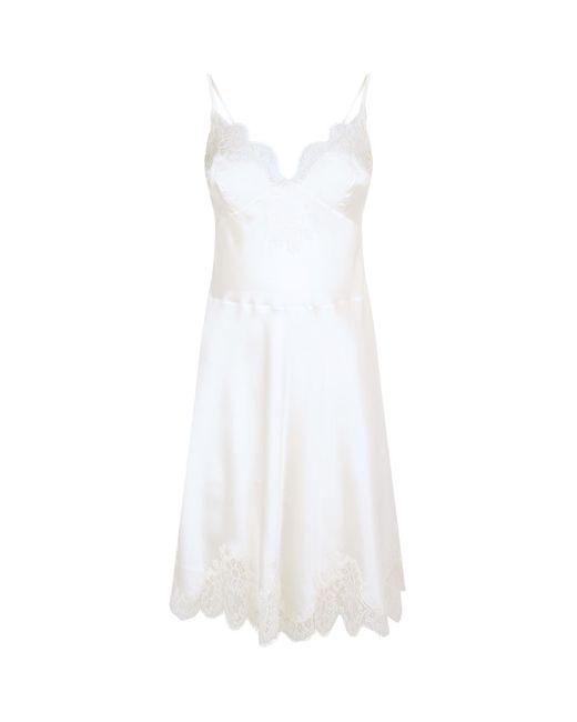 eb9866c0cde6 Carine Gilson Silk Lace Trim Chemise in White - Lyst