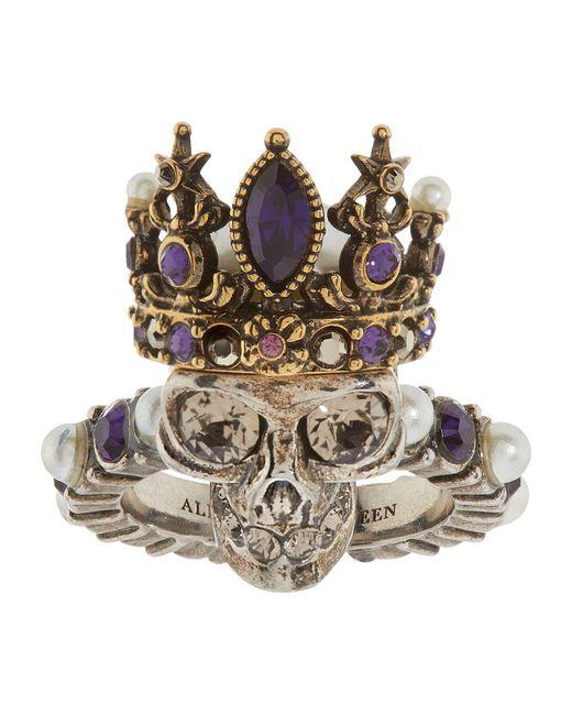 Alexander McQueen | Metallic Queen Skull Ring | Lyst