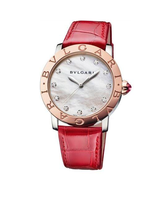 BVLGARI - Metallic Rose Gold, Mother-of-pearl And Diamond Bulgari Bulgari Lady Watch 37mm - Lyst