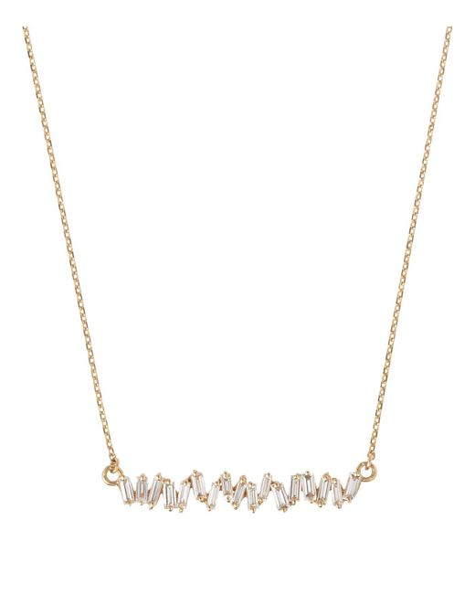 Suzanne Kalan - White Yellow Gold Diamond Baguette Necklace - Lyst