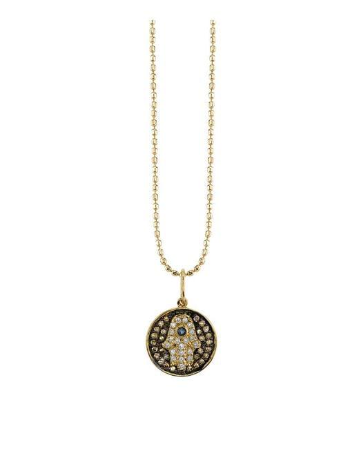 Sydney Evan   White Small Diamond Hamsa Medallion   Lyst