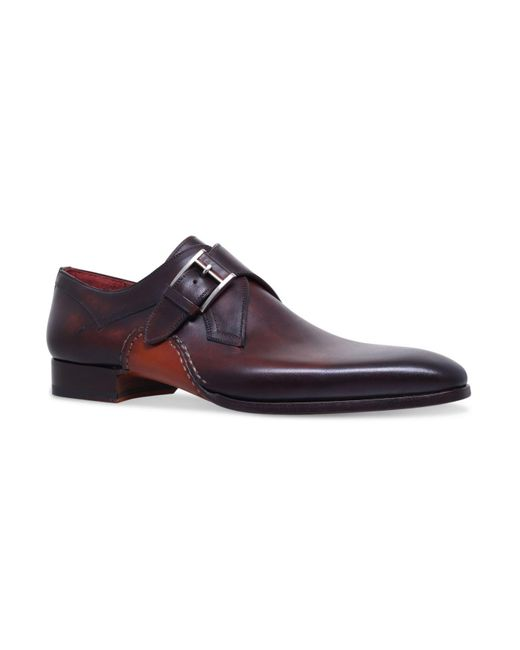 Magnanni Shoes - Brown Opanka Curved Single Monk Shoes for Men - Lyst